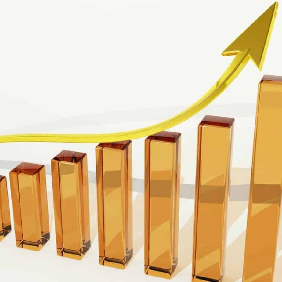 A bar chart showing growth