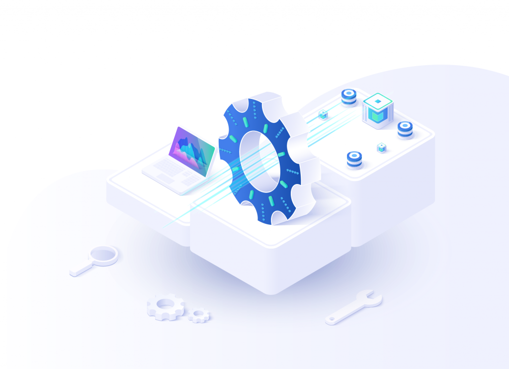 Isometric image of laptop and settings cog representing automation