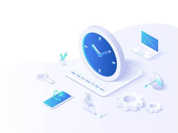 Isometric image of a clock and technology representing time recording