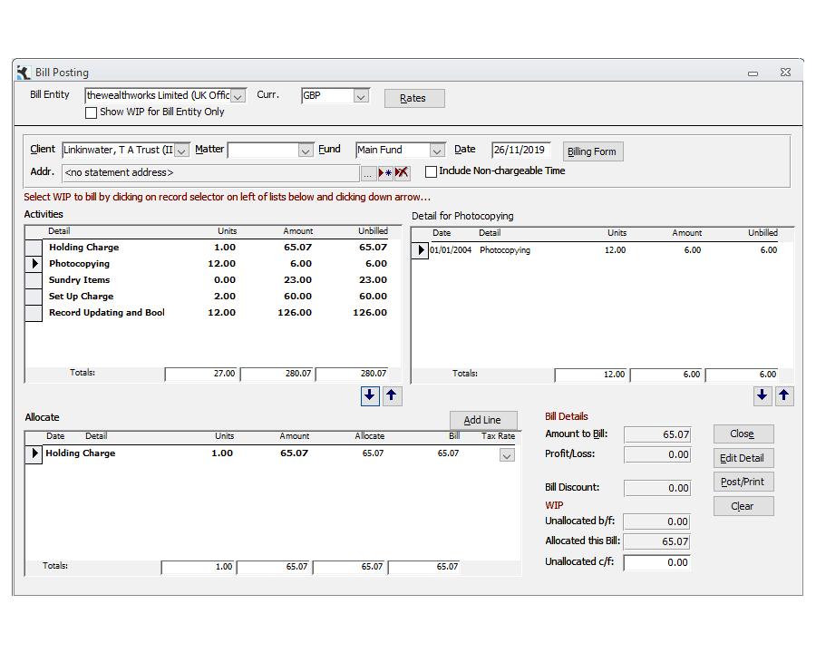 Billing Posting Screen