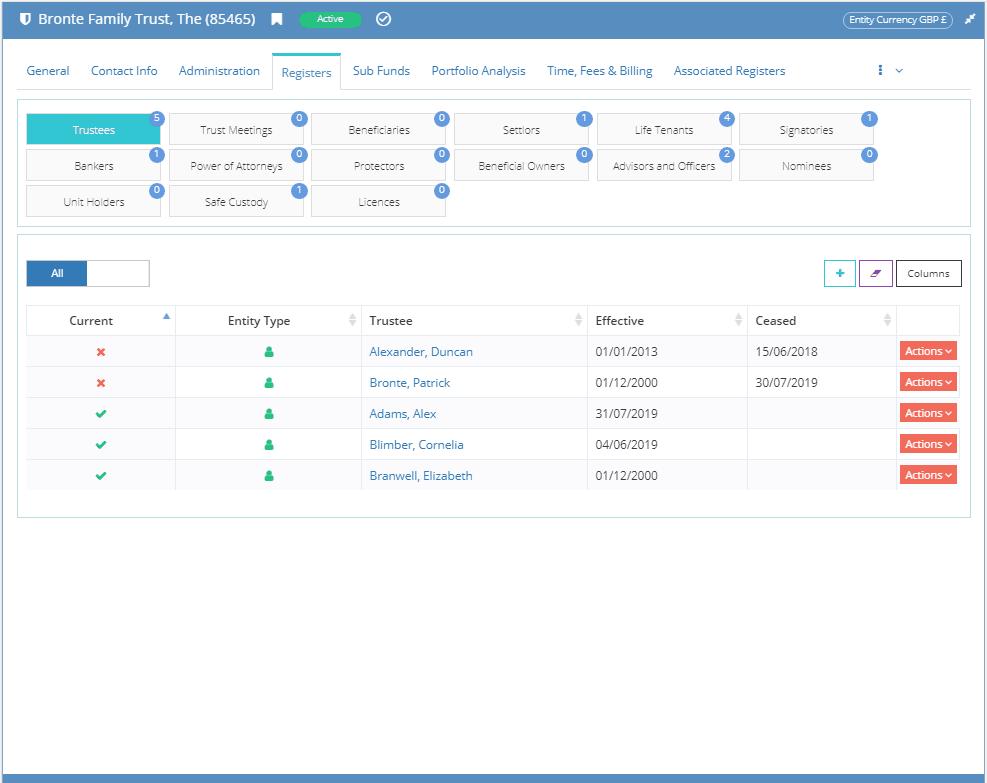 WealthWorks+ screen showing entity registers