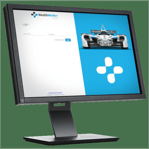 Monitor displaying WealthWorks+ Login screen