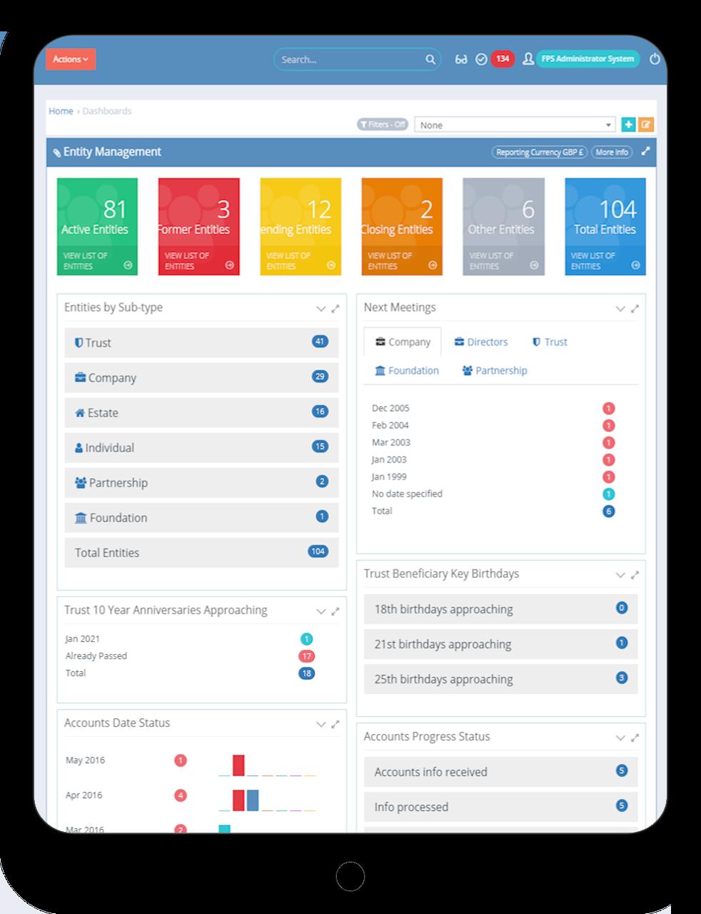 WealthWorks+ Dashboard on Tablet