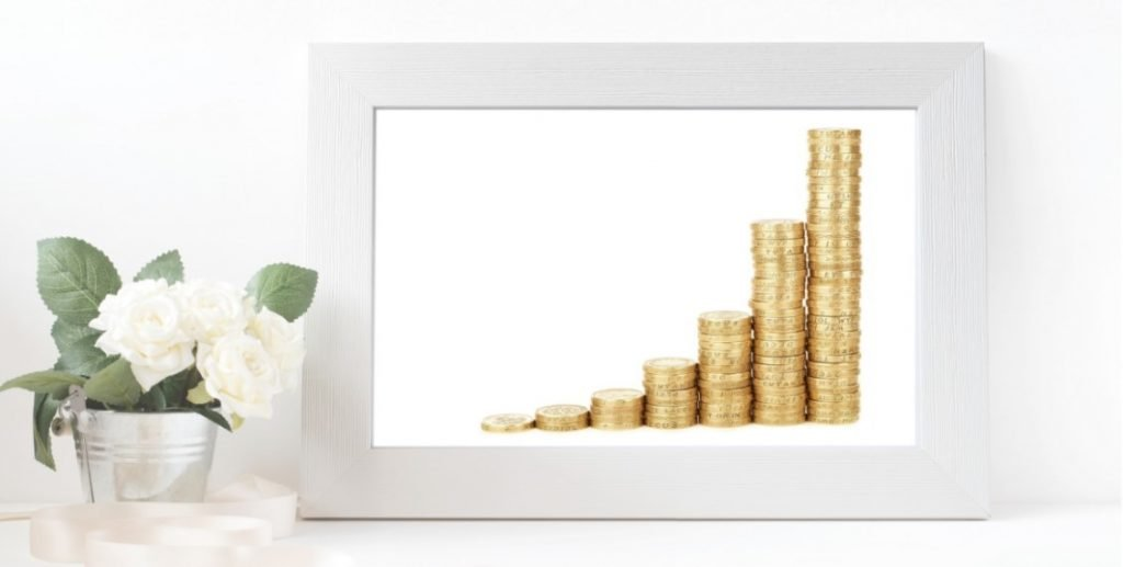 Framed picture of investment growth