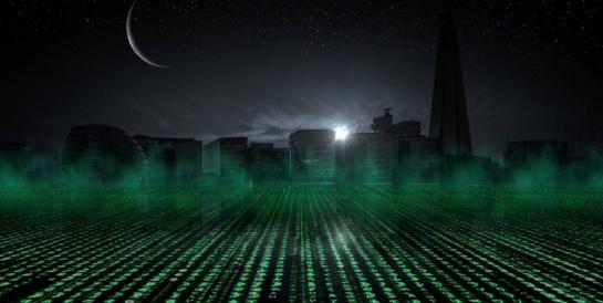 City skyline with matrix code leading towards it